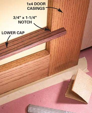 <b>Photo 8: Notch the lower cap</b></br> Notch the lower cap to overlap the casing by 1-1/4 in. Cut the notches a little undersized with a handsaw and file and sand to the lines.