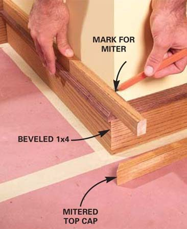 <b>Photo 9: Complete the baseboard installation</b></br> Hold outside corner pieces in place, mark and miter them. Complete the baseboard by cutting the base shoe and nailing it to the baseboard.