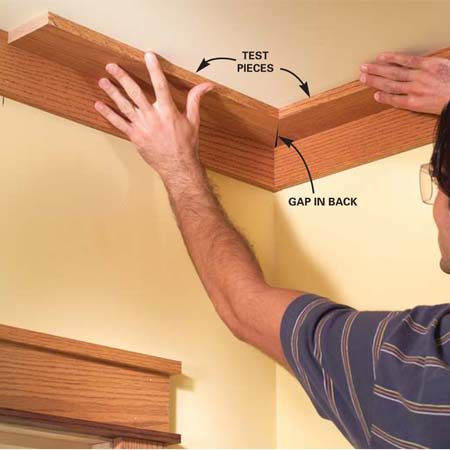 <b>Photo 11: Install the ceiling boards</b></br> Use a pair of 2-ft.-long test boards to establish an accurate miter saw setting. Then cut and fit the ceiling boards and nail them to the ceiling framing.