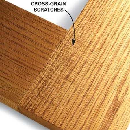 <b>Sand with the grain</b></br> Sand with the grain when hand sanding or using a belt sander. Scratches are hard to see when they run parallel to the grain. But even the lightest scratches across the grain are obvious, especially after staining.