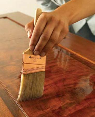 <b>Better brushes are the key</b></br> Usually, a brush is the best tool for applying polyurethane. For water-based poly, a synthetic brush (such as nylon or polyester) is best. For oil-based poly, use a natural-bristle brush. In either case, plan to spend a few dollars extra for a good-quality brush. Quality brushes hold more finish, lay it on smoothly and are less likely to leave lost bristles in your clear coat. If you clean your brush immediately after use, it'll serve you well far into the future.
