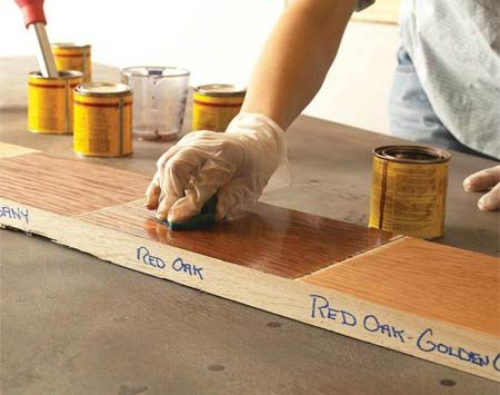 <b>Test stains, <em>thoroughly!</em></b></br> You can't rely on those stain samples on display in stores. Actual color varies a lot, depending on the type of wood and how you prepared it for finishing. So save scraps from your project, run them through the same sanding process and use them to test finishes. If you didn't build the item you're finishing, run tests on an inconspicuous area—the underside of a table, for example. Test stain on scraps to get the color you want. Leaving excess stain on the wood for longer or shorter periods won't affect the color much. If it's a custom color you're after, you can mix stains of the same brand.