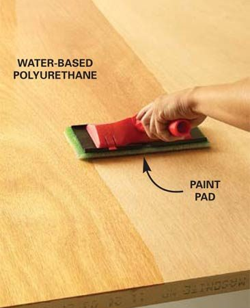 <b>Use a pad on large areas</b></br> <p>Apply water-based to large surfaces fast by using a  paint pad. Water-base finishes have a lot of  advantages. But because they dry quickly, they can be tricky on large surfaces:  The first area you cover becomes tacky before you can smooth out the next, and  you're left with brush marks that won't disappear. </p> <p>Using a paint pad to apply the finish solves these problems  because paint pads lay on the finish faster than a brush. Stir, don't shake,  the finish and pour some into a paint tray. Dip the pad into the finish and  apply it to the surface in long, even strokes. You'll be amazed at how quickly  and smoothly you can cover even large areas.</p> <p>If the  project you're working on has some large surfaces and some smaller areas, pick  up a few different sizes of paint pads. You can buy a large paint pad like the  one here at any paint store or home center. </p>