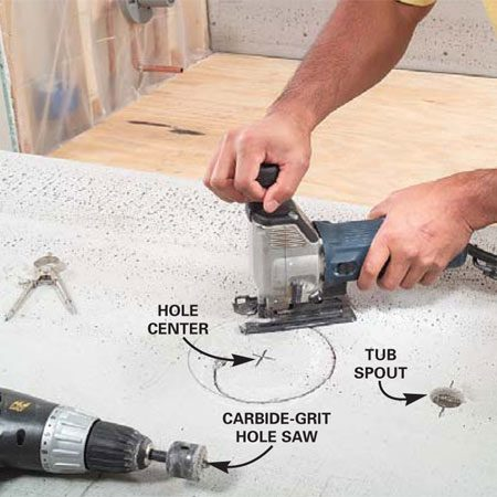 <b>Photo 3: Mark holes and cut outs</b></br> Measure and mark the hole centers, then use a compass to trace them. Cut the spout and shower head holes with a 1-1/4 in. carbide-grit hole saw; cut larger holes and curves with a carbide-grit jigsaw blade.