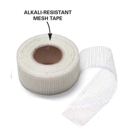 <b>Detail</b></br> Unlike standard drywall mesh tape, cement board mesh tape is thicker and won't deteriorate when covered by cement.