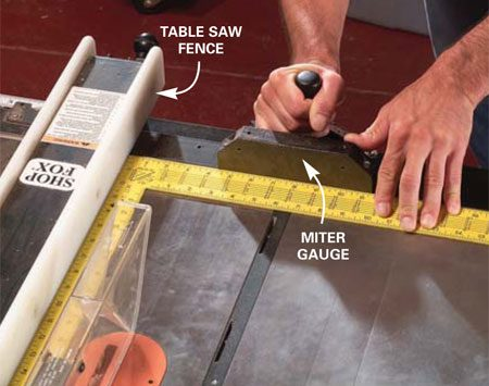 <b>Photo 2: Square the miter gauge</b></br> Square the miter gauge to the table saw fence with a carpenter's square and tighten the lockdown handle.