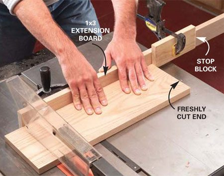 <b>Photo 3: Build a jig for square cuts</b></br> Screw a straight 1x3 extension board to the miter gauge and then cut cabinet sides, bottom and top boards to length. Use a stop block for repetitive cuts.