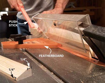 <b>Photo 12: Rip the bevels on the trim</b></br> Set the saw and combination blade to rip at a 25-degree bevel. Rip the bevels on the top trim pieces. Sand out the saw marks.