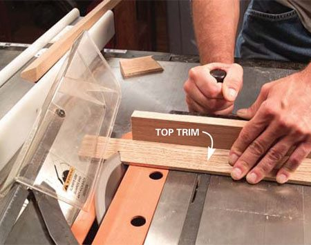 <b>Photo 13: Cut the miters</b></br> Cut the miters using the miter gauge set to exactly 90 degrees and the saw blade set at a 45-degree bevel.