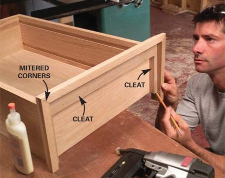 <b>Photo 14: Attach the top cleats and trim</b></br> Glue and nail on the top cleats as shown in Figure A. Fit the miters, then glue and nail the top trim to the cleats.