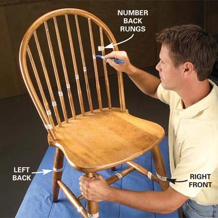 <b>Photo 1: Label the parts </b></br> Label all parts with masking tape and a marker. Number the rungs in an ascending pattern. Mark left and right as you face the front of the chair.