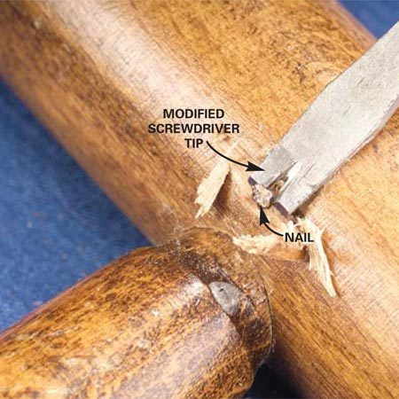<b>Photo 4: Dig out tough nails</b></br> File a groove in a flat screwdriver blade to dig out deeply driven nails. Repair the chisel damage later with matching wood filler.