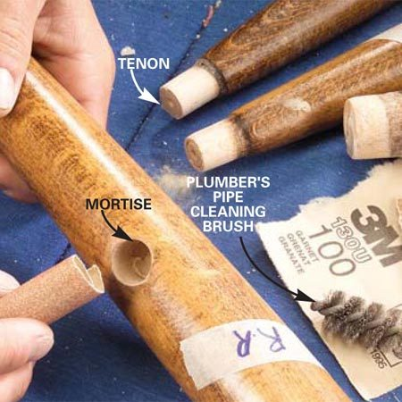 <b>Photo 6: Scrape out old glue</b></br> Remove all traces of old glue from the mortise-and-tenon joints using sandpaper (100-grit) or a plumber's pipe-cleaning brush.