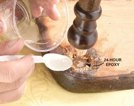 <b>Apply epoxy</b></br> Clean the old glue from the mortise and tenon. Then fill the mortise about halfway with epoxy. Set chair leg (tenon) into mortise, align and clamp.