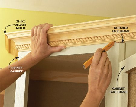 <b>Photo 1: Position and mark the molding</b></br> Position and mark each piece of crown molding as you work your way around the kitchen. Make small notches in the top corners of the face frames so the moldings lie flat against the sides of the cabinets when installed.