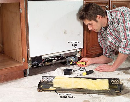 <b>Photo 1: Remove the front panel</b></br> Turn off the power, remove the front panel and use a voltage tester to make sure the power is off. Disconnect the wires and pull the cable from the box.