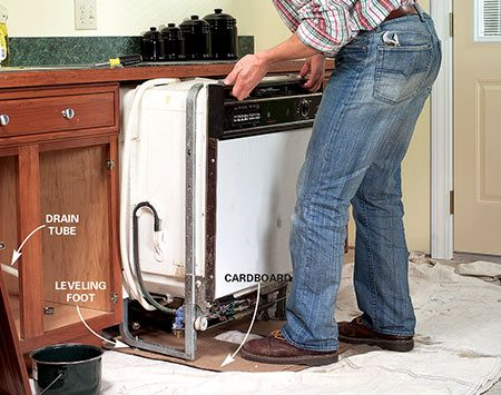 <b>Photo 4: Pull the dishwasher out</b></br> Lower the dishwasher and slip cardboard under the feet. Then gently lift and slide the dishwasher out. Work the drain tube out through the side of the cabinet.