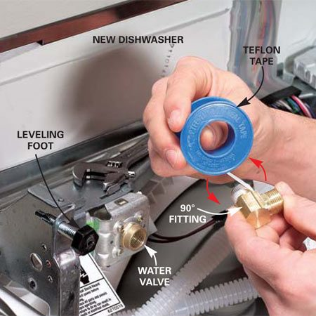 <b>Photo 5: Screw on the water valve</b></br> Wrap the 90-degree fitting twice with Teflon tape and screw it into the new water valve. Tighten it, aiming the elbow as on the old machine.