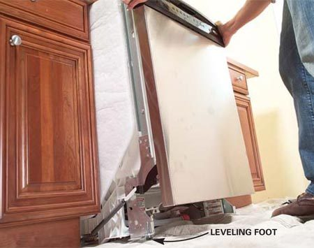<b>Photo 8: Slide the new dishwasher in</b></br> Grasp the sides of the dishwasher, lift slightly and roll the dishwasher into the opening. Protect the kitchen floor with a tarp or cardboard.