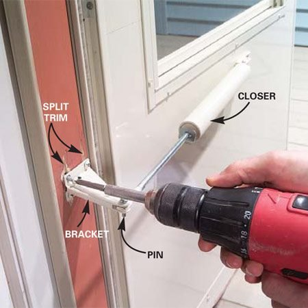 <b>Photo 1: Remove the closer</b></br> Lock the storm door all the way open. Remove the old closer bracket screws and bracket. Pull out the piston pin and discard the old bracket.