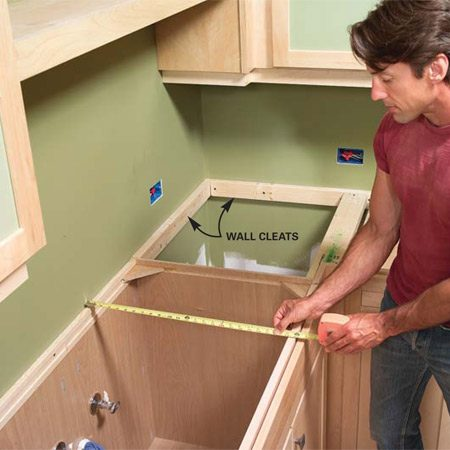 <b>Photo 1: Determine your cabinet dimensions</b></br> Measure your cabinets from the wall to the front edge of the face frame, then measure left and right. Install support cleats along unsupported edges.