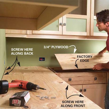 <b>Photo 2: Install plywood countertops</b></br> Cut your plywood and screw it to the tops of the cabinet with 1-5/8 in. screws. Keep the front edge even with the face frame.