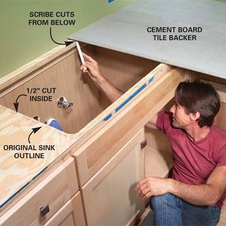 <b>Photo 5: Mark the cement board for cutting</b></br> Set the cement board onto the plywood and trace the shapes with a fine-tip marker or carpenter's pencil.