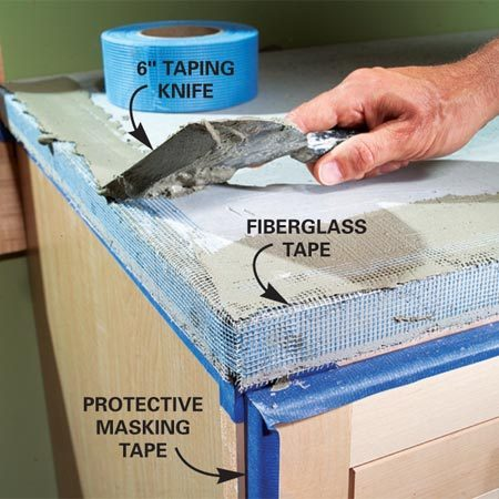 <b>Photo 9: Tape the corners and edges</b></br> Reinforce the outside corners and edges with strips of fiberglass tape. Embed the tape with a thin, even topping of thinset mortar.