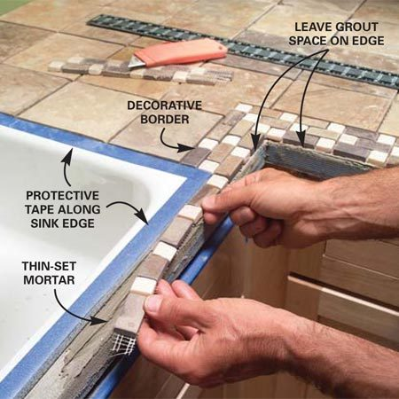 <b>Photo 12: Install the decorative trim tiles</b></br> Cut the webbed backing on the decorative trim tiles and fit them around the front of the sink. Make sure they sit flat in the mortar.