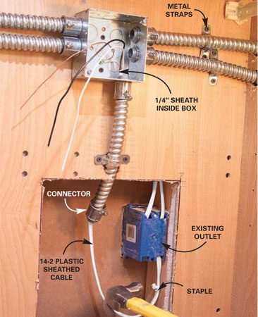 <b>Photo 6:  Run power into the junction box</b></br> Run a cable from the outlet (power source) to the junction box, stripping 12 in. of sheathing off each end. Staple it within 8 in. of the box.