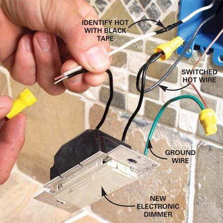 <b>Photo 13: Wire the dimmer</b></br> Connect the dimmer or switch according to the manufacturer's instructions. Fold the wires into the box and fasten the dimmer and cover plate.