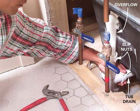 <b>Photo 3: Disconnect the waste</b></br> Unscrew the slip nuts and disconnect the tub waste and overflow from the trap. Stuff a cloth into the trap to block sewer gas and keep out debris.