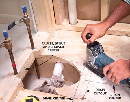 <b>Photo 7: Mark the plumbing rough-in</b></br> Mark the new center lines for the tub drain according to the manufacturer's rough-in guide. Cut out more subfloor with a jigsaw if necessary.