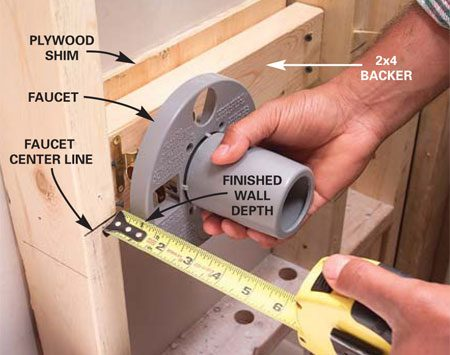 <b>Photo 8: Install the anti-scald valve</b></br> Screw a 2x4 backer to the studs for the new anti-scald valve, shimming it as needed to place the faucet at the manufacturer's recommended depth.