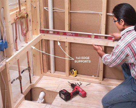 <b>Photo 10: Add the edge supports</b></br> Level and screw 1x3 edge supports to the studs at the height listed in the instructions. Tub support details vary by brand.