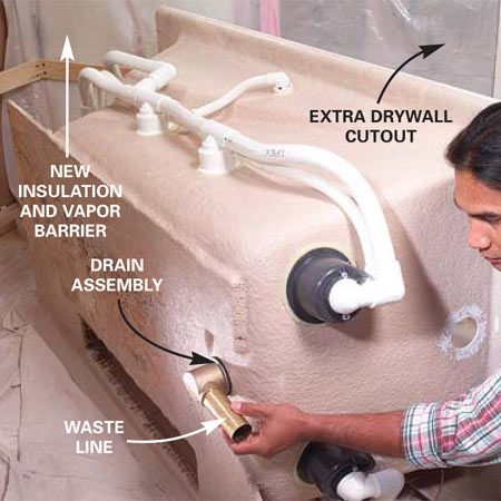 <b>Photo 12: Add the drain assembly</b></br> Screw the drain assembly in place. Hold the drain inside the tub while tightening the waste line, until the rubber seal is snugly sealed but not squashed.