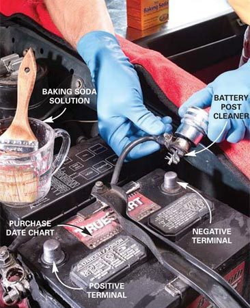 <b>Clean corrosion from the battery</b></br> Clean corrosion from the top of the battery first and then clean corrosion from around the battery cables with a post cleaner.