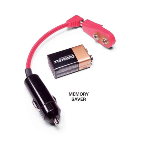 <b>Memory saver</b></br> If you have preset radio stations or other memory functions in your car and want to keep them, go to your auto parts store and get a device like the one shown and a fresh 9-volt battery. Plug this into your cigarette lighter before you disconnect the cables. This will give you about one hour to clean the cables and test the battery charge.