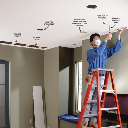 <b>Photo 1: Cut holes in the ceiling.  </b></br> Saw a slot in the ceiling for access to the ceiling joists and top of the wall for wiring. Then lay out and cut holes for the recessed light housings.