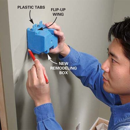 <b>Photo 3: Locate your new switch box. </b></br> <p>Cut in the new  switch box according to your plan (Figure A). Use a remodeling box that has  built-in cable clamps. Don't mount the box until you've pulled in cables from  the power and lights. </p>