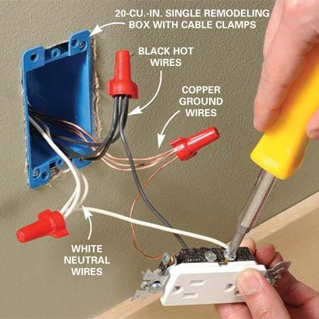 <b>Photo 11: Reconnect the outlet. </b></br> Install a new remodeling box at the old outlet location. Connect the new wires to the power source, then reconnect the outlet.