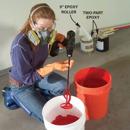 <b>Photo 6: Mix the epoxy</b></br> Mix the two epoxy components for five minutes using a drill and stirring bit. Then pour the entire contents into a second bucket and repeat the power mix to ensure complete blending of the entire mixture.