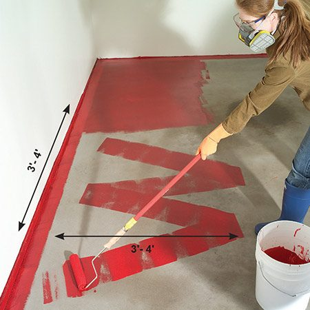 "<b>Photo 9: Roll on the epoxy</b></br> Paint a big wet ""W"" pattern that's about 3 to 4 ft. square, then backroll to fill in the pattern—all in 60 seconds. Finish by going over it lightly to remove roller marks."