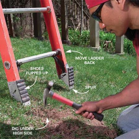 <b>Photo 5: Trench the high side</b></br> Dig a trench under the high-side foot when your ladder is on uneven ground. Flip the shoes up when you're setting up the ladder on soft ground. The spurs will dig in and prevent the ladder from slipping.