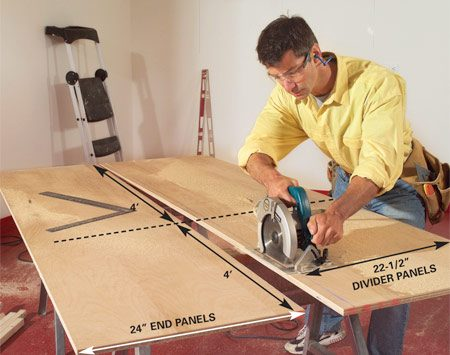 <b>Photo 1: Rip the plywood</b></br> Rip one 8-ft. long, 24-in. wide length of 3/4-in. plywood for the end panels and 22-1/2 in. widths for each divider panel. Cut the panels to 4-ft. lengths.