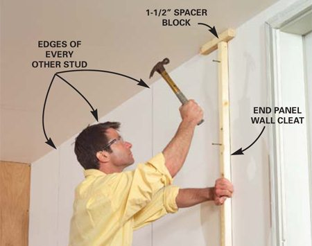 <b>Photo 3: Nail the end panel cleat</b></br> Locate the studs. Mark one edge with a 4-ft. level, then nail the end panel wall cleat into the last stud, spacing it 1-1/2 in. from the ceiling.