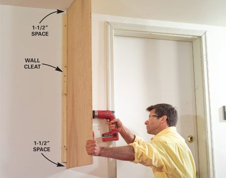 <b>Photo 4: Attach the end panel</b></br> Press the end panel against the ceiling and wall, then screw it to the outside edge of the wall cleat with 2-in. screws.