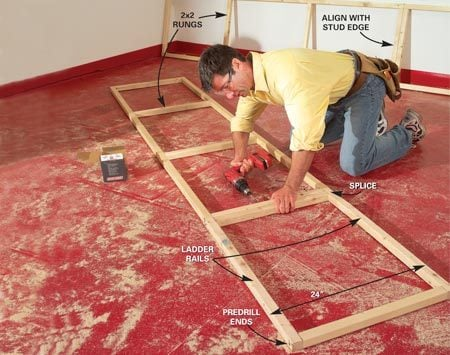 <b>Photo 5: Assemble the ladder rails</b></br> Cut the ladder rails to fit between the end panels. Then carefully lay out the 2x2 rung locations using the wall studs as a guide for spacing. Nail the ladders together. Screw splices together with 3-in. screws.