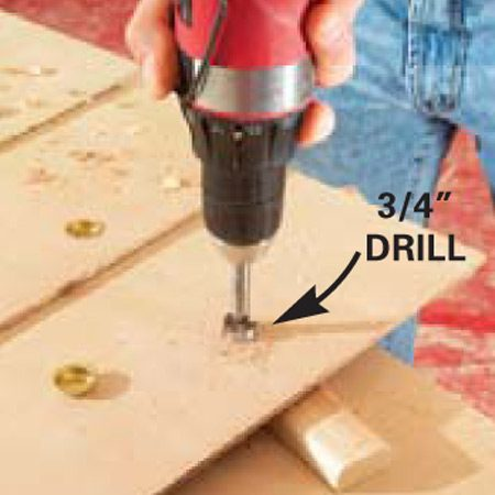 <b>Close-up of drilling</b></br> Detail of holes for finger pulls
