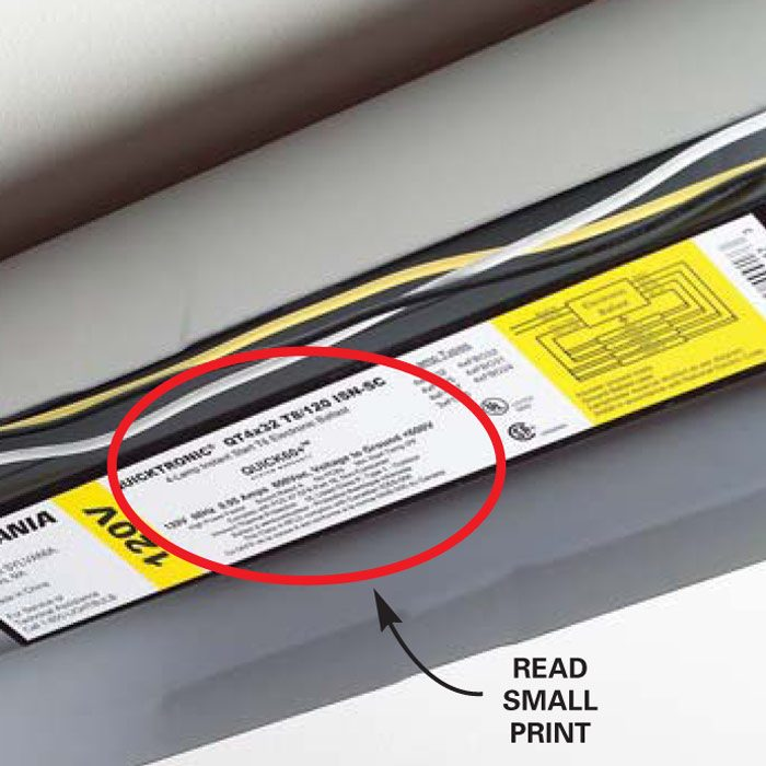 Look for the cold starting temperature, which is only printed on<br/> the ballast label.